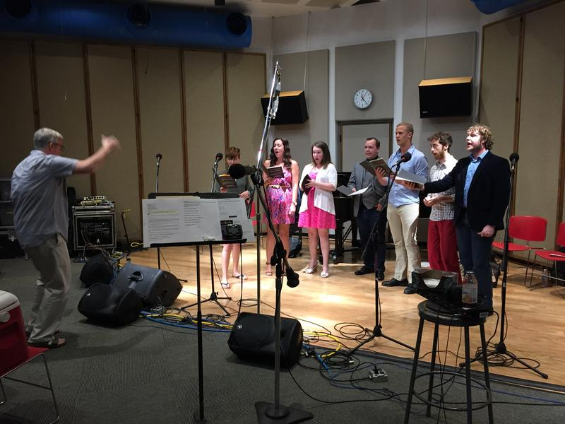 "Conductor John Hollins rehearses cast members from the Cedar Rapids Opera Theatre's production of ""Man of La Mancha"" in Iowa Public Radio's Studio One."