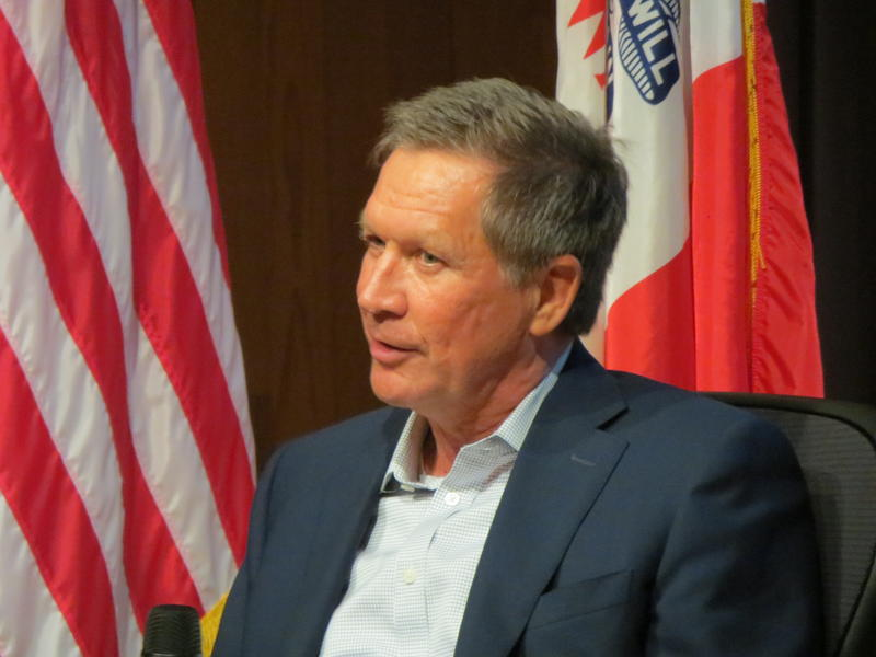 Ohio Governor John Kasich, taking questions at a forum sponsored by the Greater Des Moines Partnership