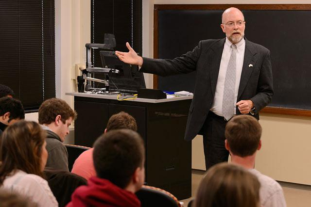 Ambassador Ron McMullen at the University of Iowa in 2013