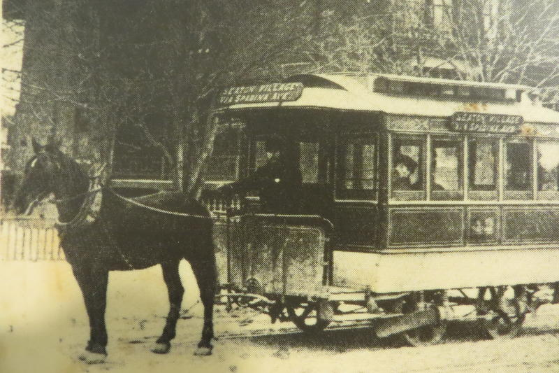 Horse drawn trolley pictured at Gomaco gallery