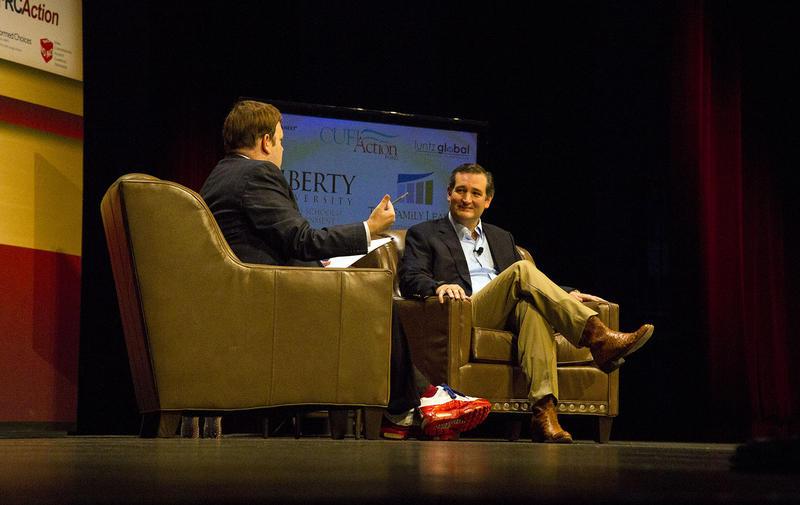 Texas Senator Ted Cruz speaks with Family Leadership Summit moderator Frank Luntz in Ames, Iowa.