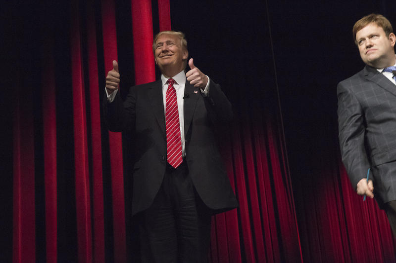 Businessman and GOP presidential candidate Donald Trump takes the Family Leadership Summit stage in Ames on July 18, 2015.