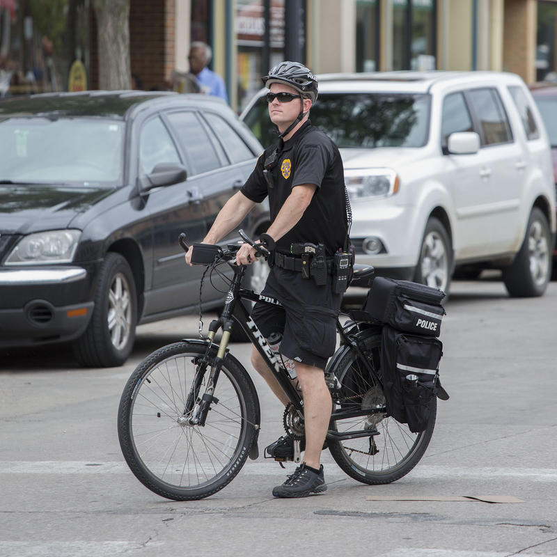 Iowa City police officer at the city's 2014 pride parade.