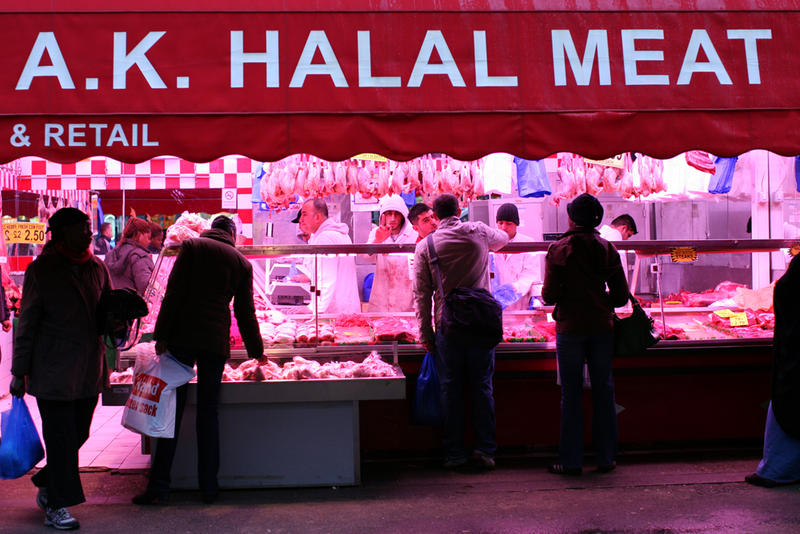 A Halal butcher shop at Brixton Market in London.