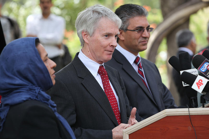 US Ambassador Ryan Crocker and Herat Governor Dr. Da'ud Saba hold a press conference at the Governor's compound in Herat, Afghanistan on Thursday, August 25, 2011.
