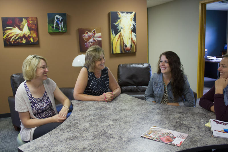 (left to right) Jen Deppe, Janine Stewart, Kelly Jans and Joy Benning work together in the Waterloo office of MorganMyers, which produces marketing and communications materials for agriculture and food companies.