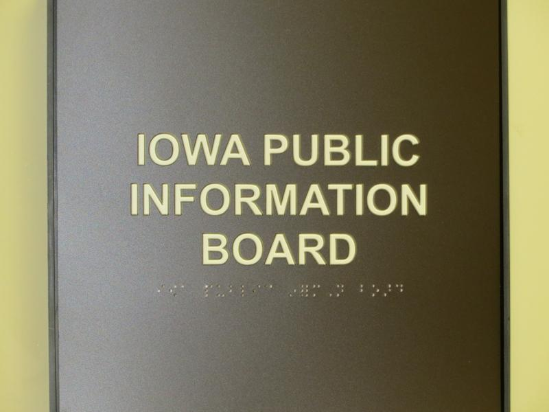 Placard at the Offices of the Iowa Public Information Board, Wallace Building, State Capitol Complex