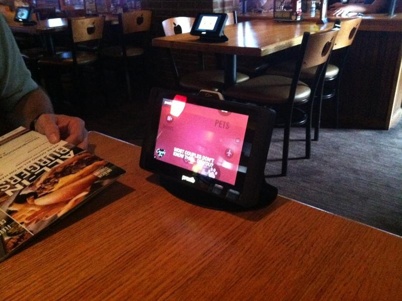 a tablet on a table at an Applebee's in Des Moines