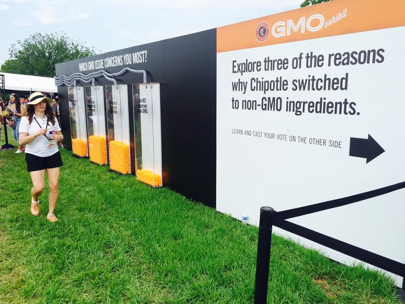 Folks attending a Chipotle Cultivate Festival in Kansas City on July 18 voted on their opinions about genetically modified organisms after going through the exhibit.