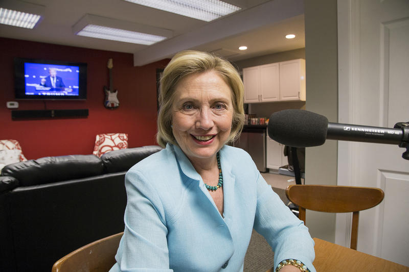 Former Secretary of State and Democratic Presidential Candidate Hillary Clinton backstage at the Surf Ballroom in Clear Lake, Iowa.