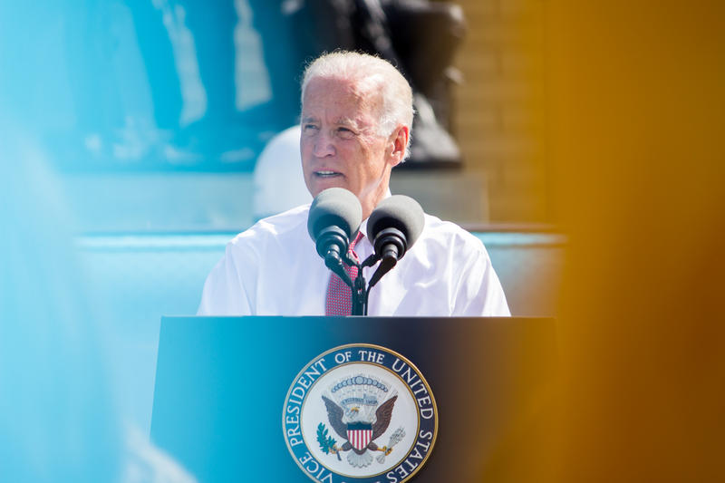 "Vice President Joe Biden speaks in Des Moines on the steps of the state capitol as the activist group ""Nuns on the Bus"" kicks off a voter registration tour. 9/17/2014"