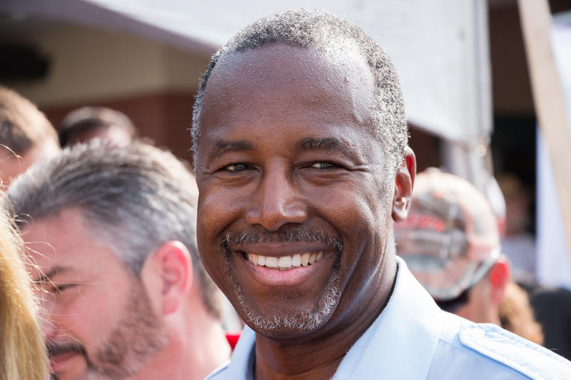 Republican Ben Carson greets supporters after speaking at the Iowa State Fair Sunday.
