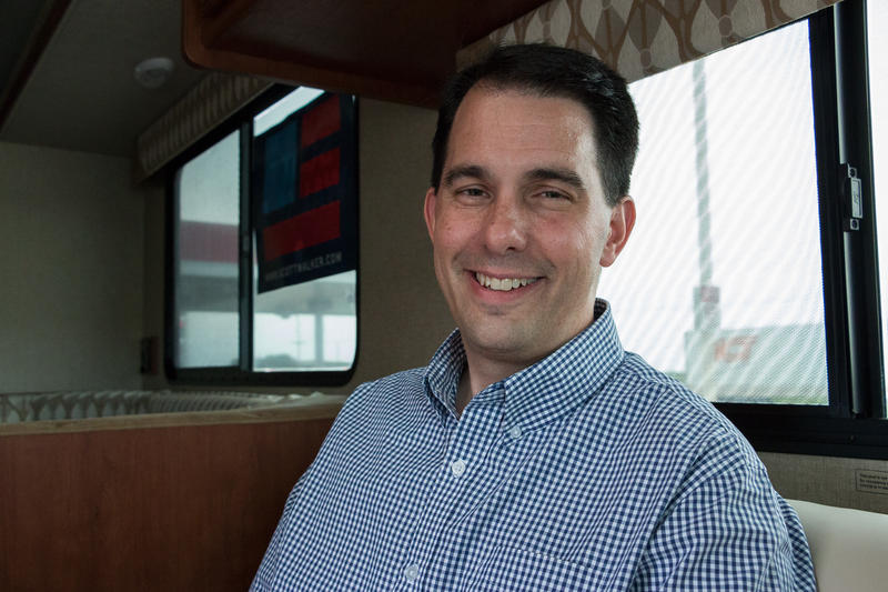 Republican presidential candidate Wisconsin Governor Scott Walker in his campaign RV during a stop in Webster City. 8/17/2015