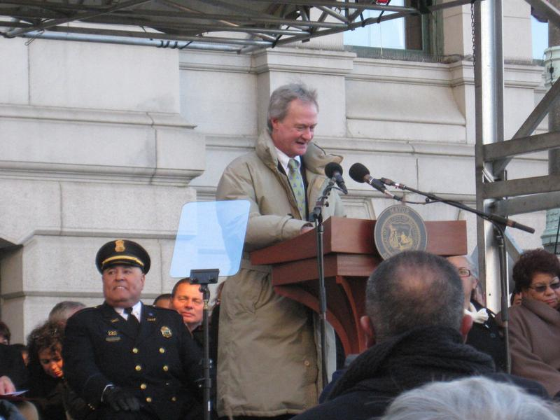 Then Governor-Elect Rhode Island Governor Lincoln Chafee at the inaguration of Providence Mayor Angel Taveras