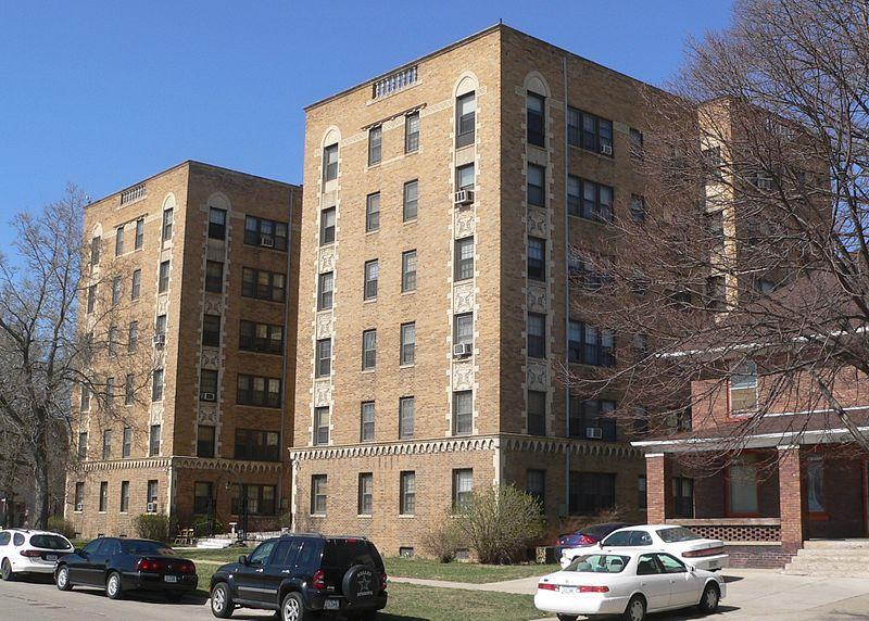 Alhambra Apartments, located at 801 8th Street in Sioux City, Iowa; seen from the southeast.