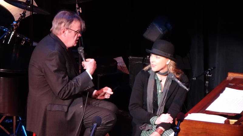 Garrison Keillor with Diana Krall at a taping in New York.