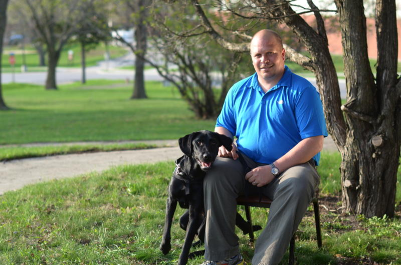 Wade Baker with service dog Honor, March 2012.