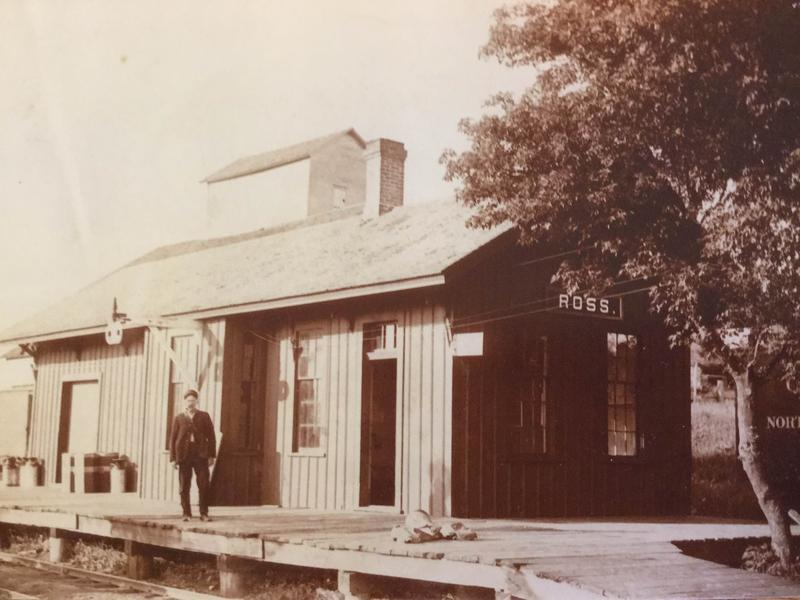 The old Ross Depot in 1910, with depot agent Inman S. Shearman.