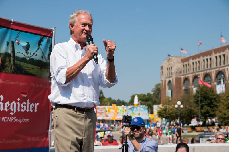 Democratic presidential candidate Lincoln Chafee stumps at the Iowa State Fair on the Des Moines Register's Soapbox.