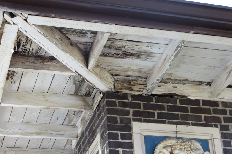 A leaky roof allows rain to penetrate and damage the terra cotta.
