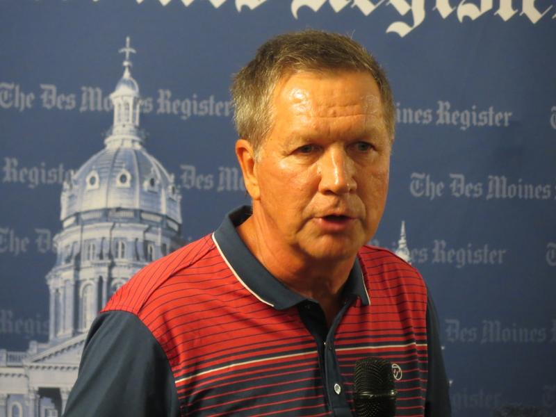 Ohio Governor John Kasich at the Des Moines Register's Soapbox at the Iowa State Fair