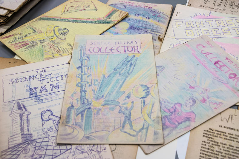 """Science Fiction Collector"" is a zine from the 1930s. Printed with a hectograph or jellygraph printing process, the sensitive ink fades fast when exposed to bright light. It's one of the 10,000 zines in the Hevelin Collection stored at University of Iowa."
