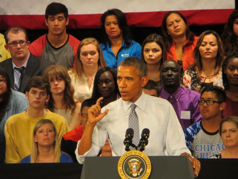 President Barack Obama at North High School in Des Moines
