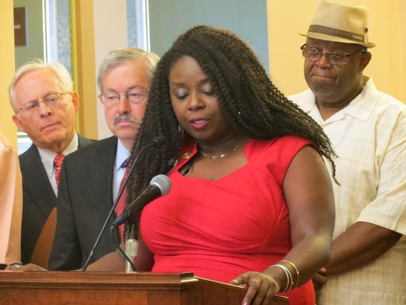 Iowa-Nebraska NAACP President Betty Andrews speaks at the Iowa Capitol