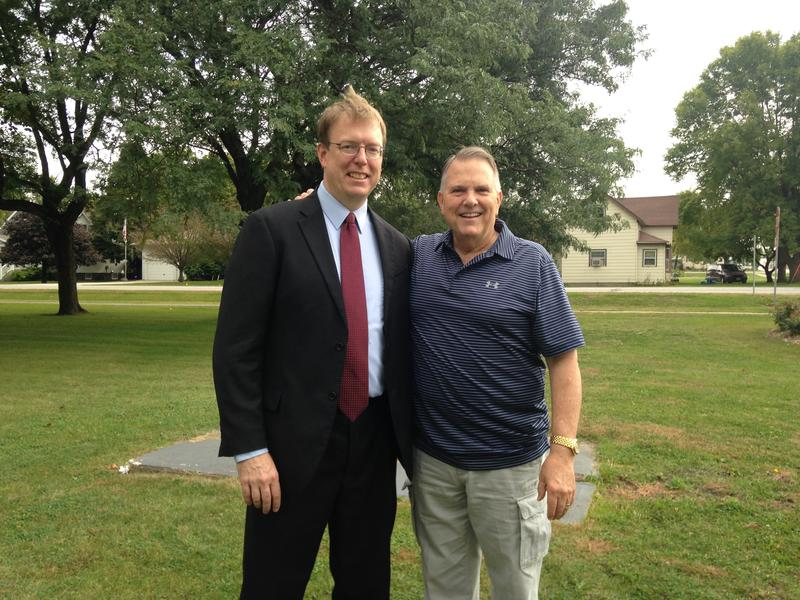 State Sen. Rob Hogg of Cedar Rapids at his announcement for his candidacy for U.S. Senate on 09/22/2015. He stands next to former State Sen. Daryl Beall of Fort Dodge.