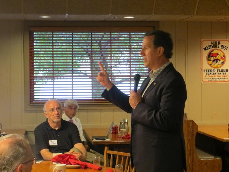 Former Pennsylvania Senator Rick Santorum addresses the Westside Conservative Breakfast Club at the Machine Shed Restaurant in Urbandale.