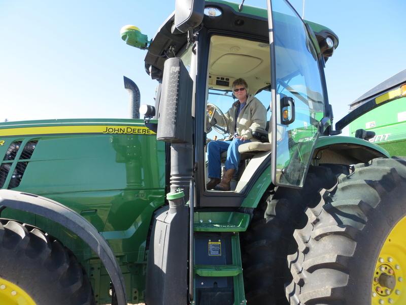 Floyd, Iowa  farmer Pam Johnson takes a break from the corn harvest
