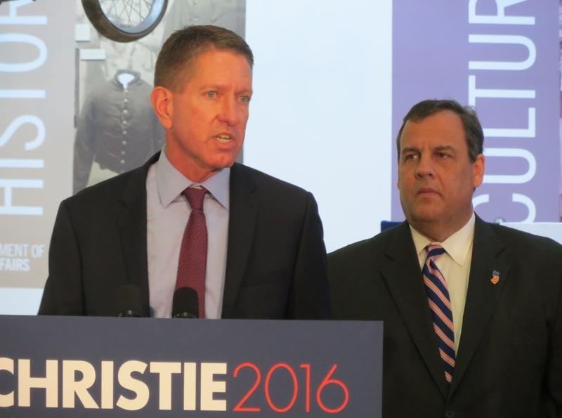 Iowa Board of Regents President Bruce Rastetter with Republican Presidential Candidate Chris Christie.   Rastetter and other GOP donors endorsed Christie at an announcement event at the Iowa Historical Building in Des Moines.