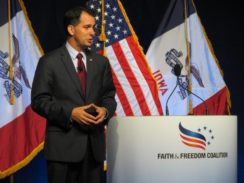 Wisconsin Gov. Scott Walker at the Iowa Faith and Freedom Coalition Fall Fundraiser Saturday.
