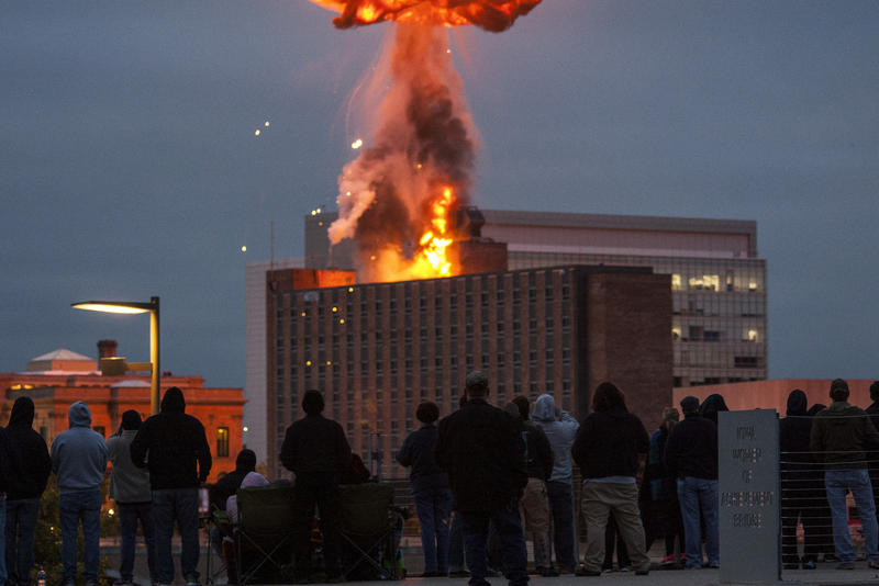 Riverfront YMCA implosion on 10/04/2015.