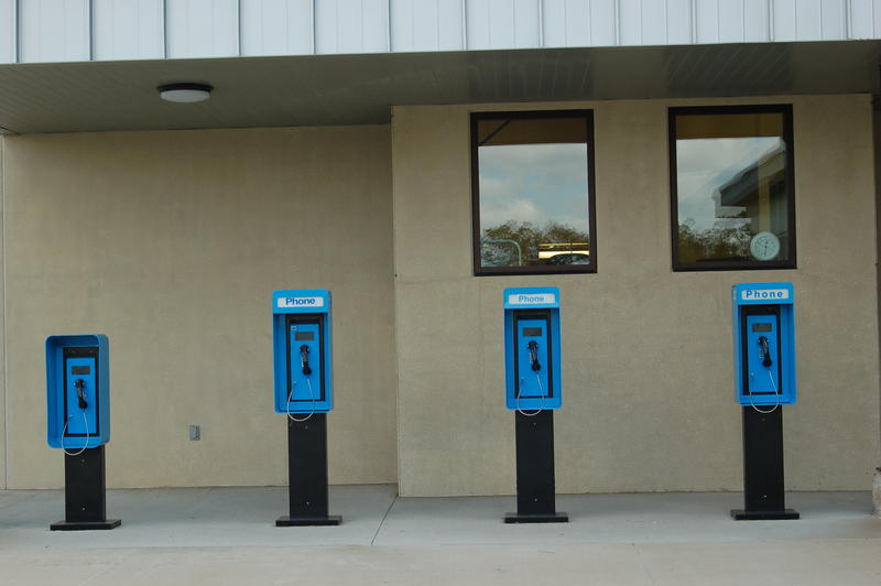 Phone booths available for offenders to use on the yard