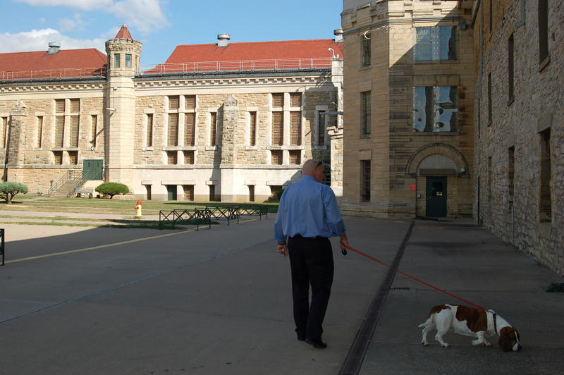 Warden Nick Ludwick's dog Gracie regularly roams the old penitentiary grounds