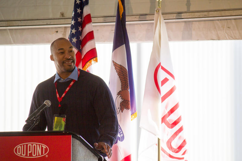DuPont's Terraun Jones talks about his work on the cellulosic ethanol plant in Nevada during a celebration of its opening.