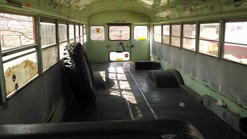 the bus before it's conversions were made to house chickens