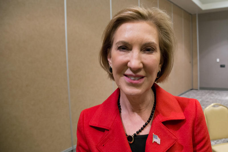 Republican presidential candidate Carly Fiorina after a campaign stop in Council Bluffs, Iowa on the morning of November 13, 2015.