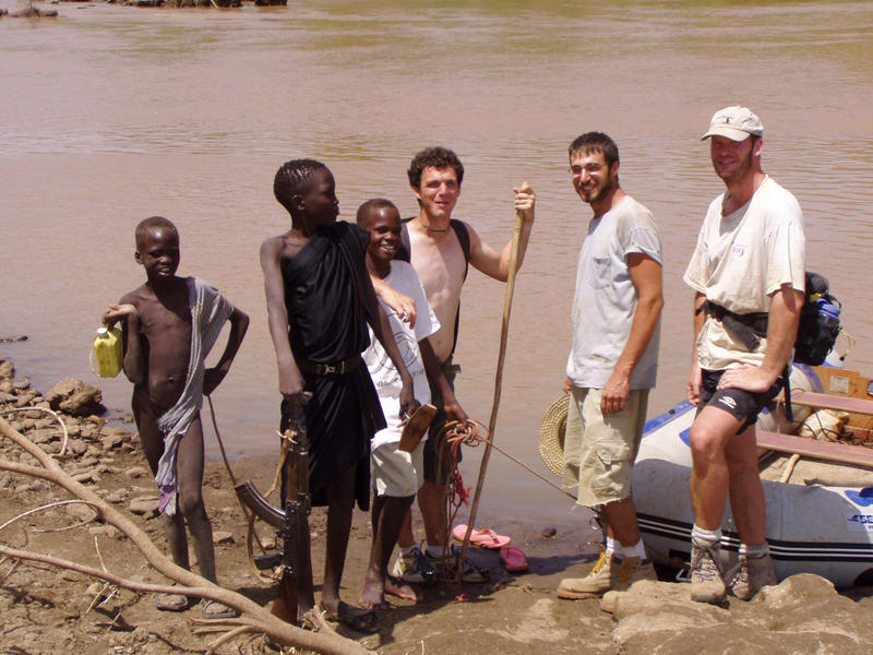 Mark Mathison, far right, with members of a native tribe and fellow researchers in Ethiopia.