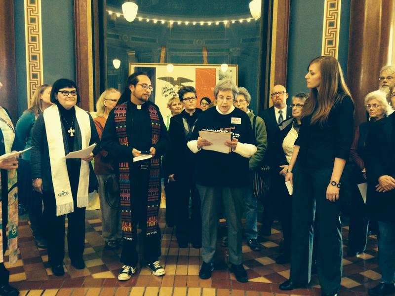 Iowa faith leaders gather at the capitol to ask the governor to welcome Syrian refugees to the state.