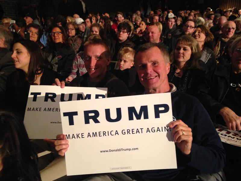 Paul Hunt (left) and Rick Sandquist waiting for Donald Trump in Fort Dodge.