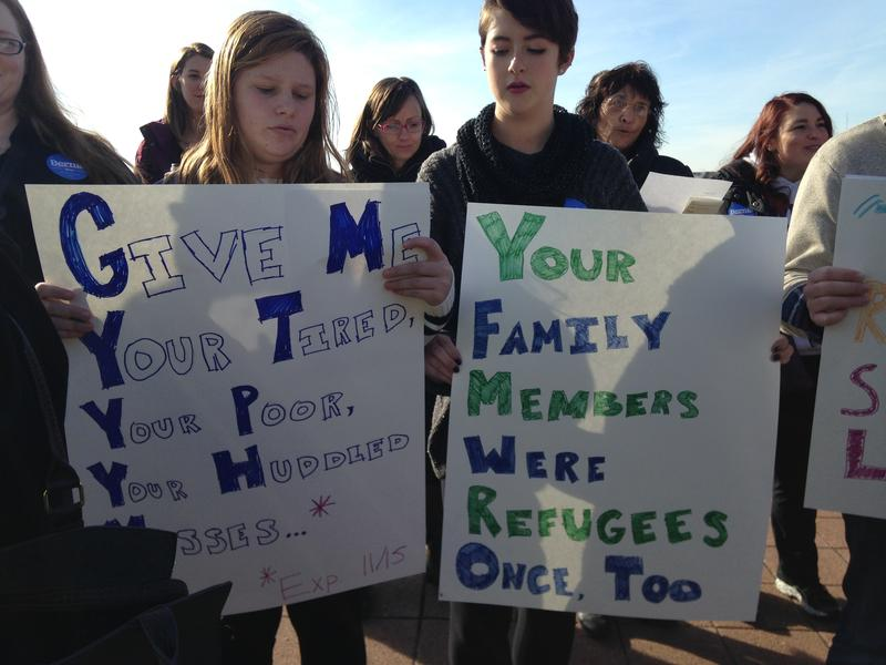 Iowans rally outside the state capitol in support of Syrian refugees.