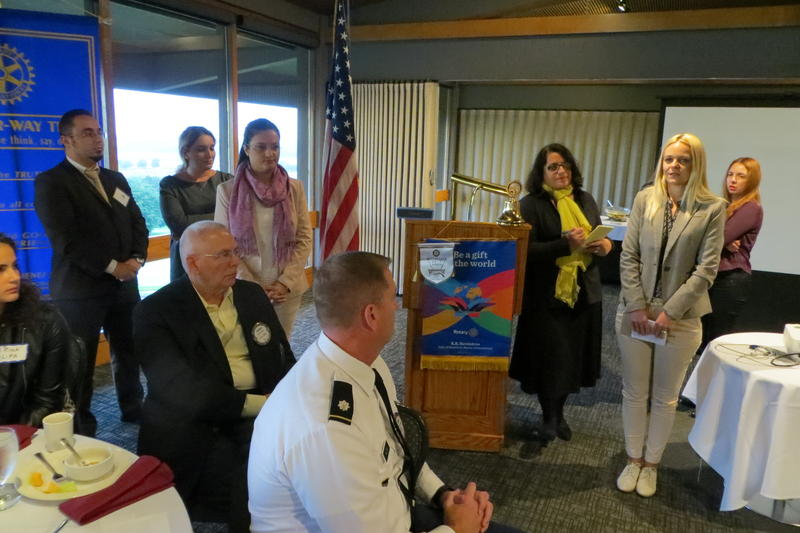 Kosovo group appears before the Johnston Rotary Club.