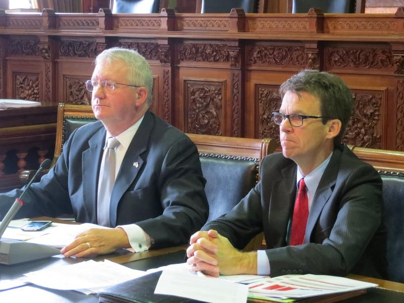 Ways and Means Committee Chairs Representative Tom Sands (R-Wapello) and Senator Joe Bolkcom (D-Iowa City)