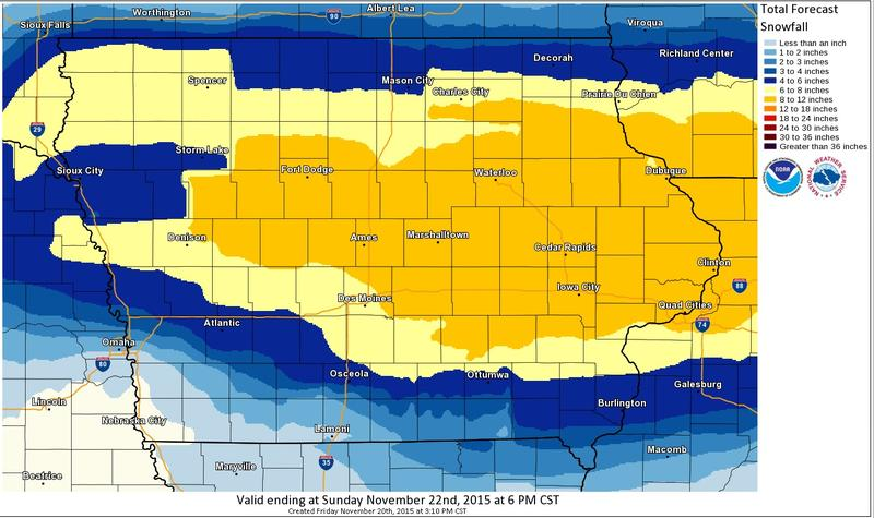 The National Weather Service predicts this snowstorm will cover just about all of Iowa.  Heaviest expected amounts are in gold.