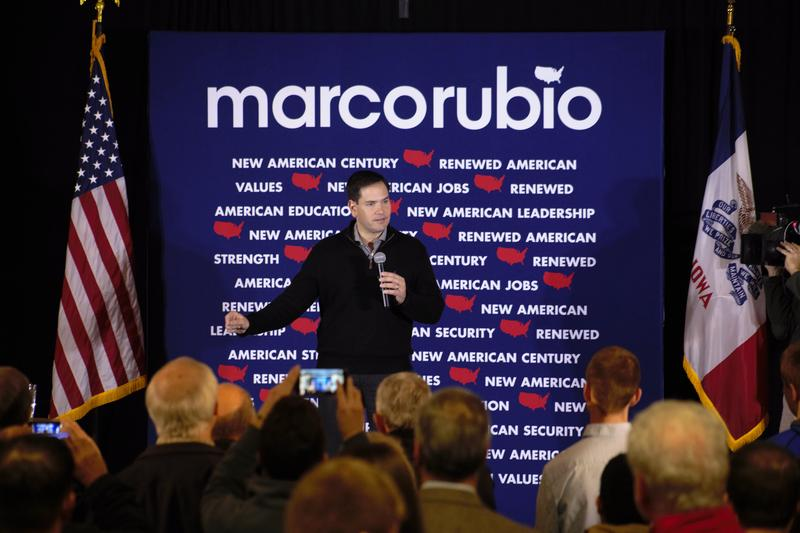 Republican presidential candidate Senator Marco Rubio of Florida speaks to a crowd in Ankeny, Iowa following the final GOP debate of 2015.