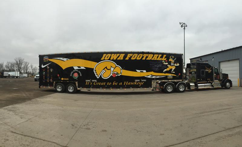 The Hawkeye Hauler painted for the Rose Bowl