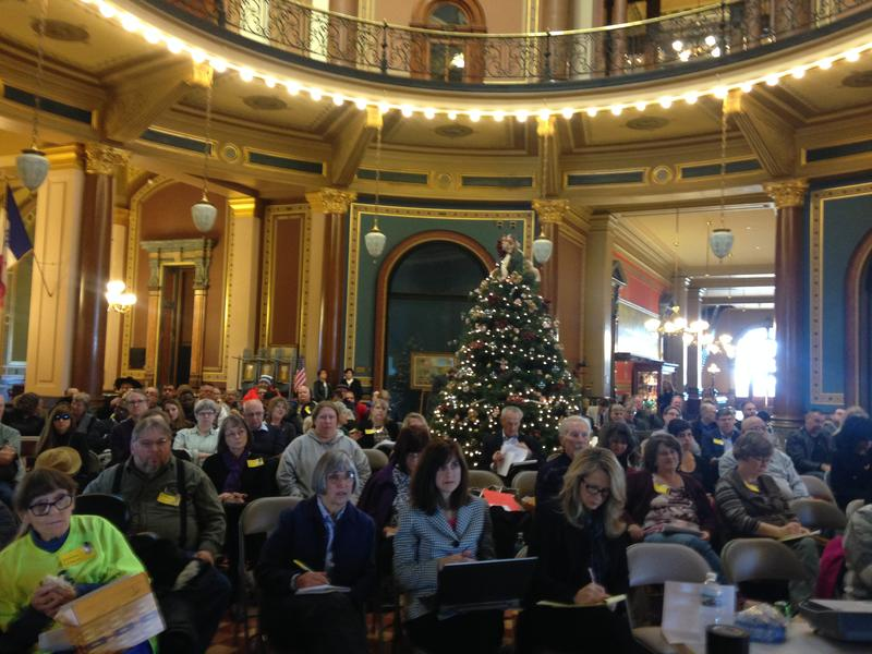 Overflow seating for Monday's Health Policy Oversight Committee meeting was set up in the Capitol rotunda.