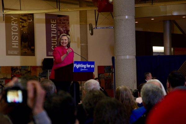 Democratic Presidential Candidate Hillary Clinton speaks to a crowd at the Iowa Historical Society in Des Moines on January 4, 2016.